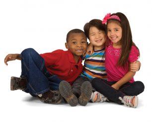 3 children hugging