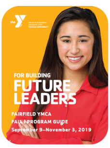 Cover of fall program guide YMCA with a smiling woman on it