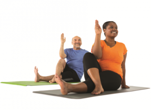 A woman and a man are on the yoga matts