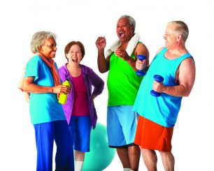 Group of seniors laughing heartily after a workout