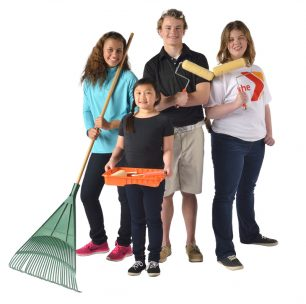 Four children cleaning