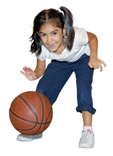 girl plays basketball