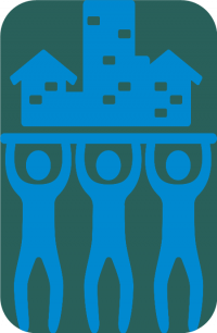 graphics of 3 people holding a house
