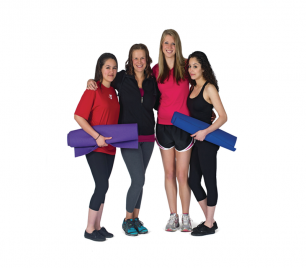 Four girls with yoga mats