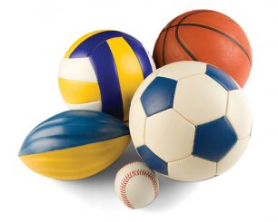 Display of athletic equipment: balls from various sports