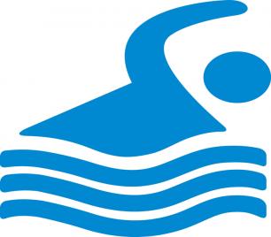 swimmer's silhouette
