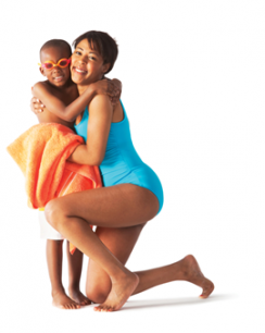a woman hugging a boy and wearing swimsuits