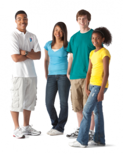 4 teenagers standing and smiling